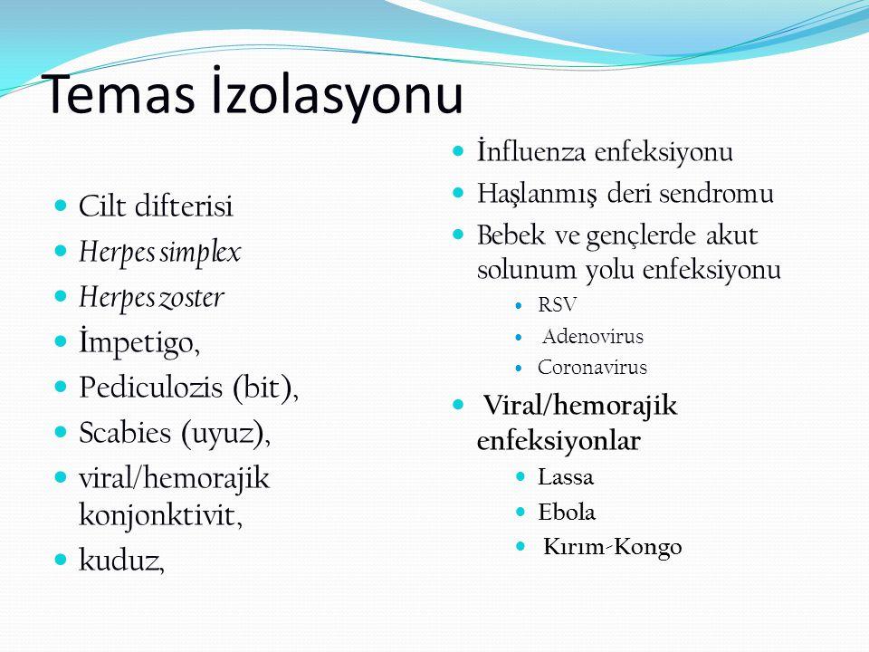 Temas İzolasyonu Cilt difterisi Herpes simplex Herpes zoster İmpetigo,