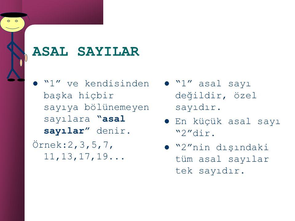 ASAL SAYILAR 1 ve kendisinden başka hiçbir sayıya bölünemeyen sayılara asal sayılar denir. Örnek:2,3,5,7, 11,13,17,19...