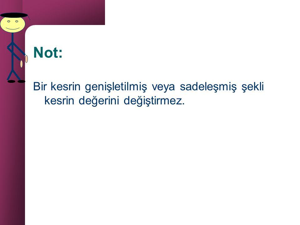 Not: Bir kesrin genişletilmiş veya sadeleşmiş şekli kesrin değerini değiştirmez.