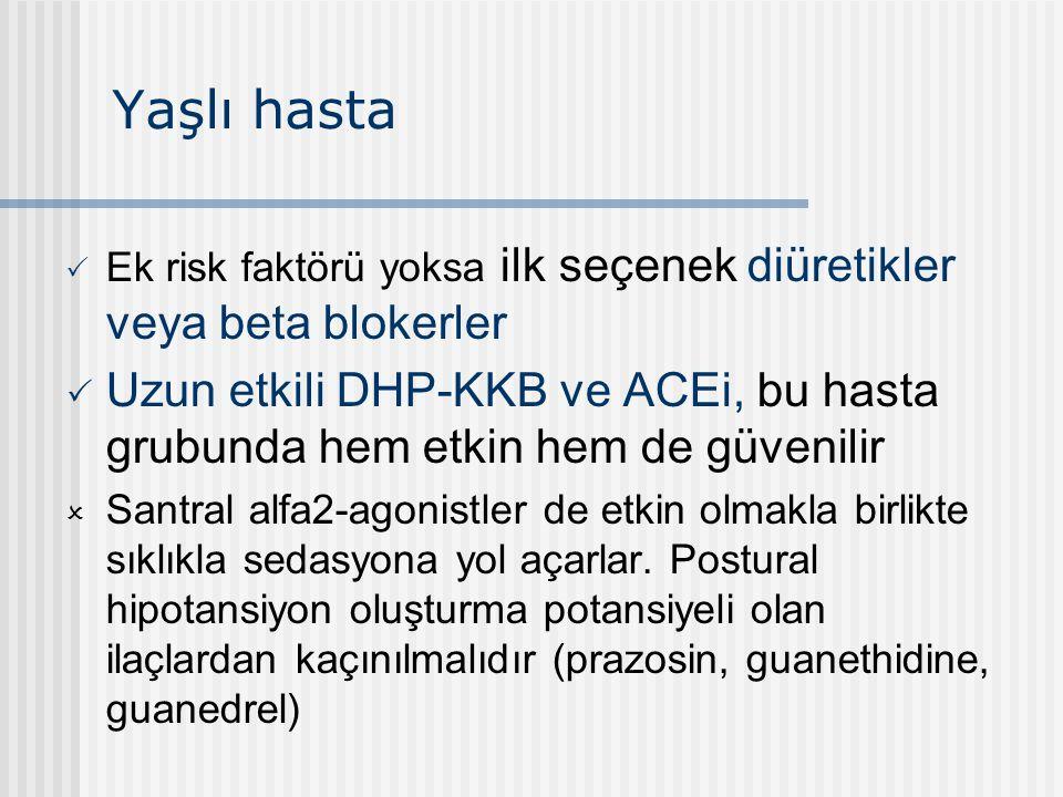 Yaşlı hasta Ek risk faktörü yoksa ilk seçenek diüretikler veya beta blokerler.