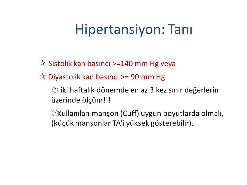 Hipertansiyon: Tanı Sistolik kan basıncı >=140 mm Hg veya