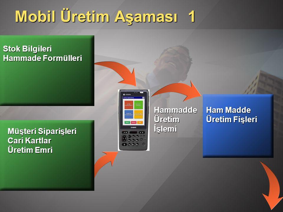 Mobil Üretim Aşaması 1 Stok Bilgileri Hammade Formülleri