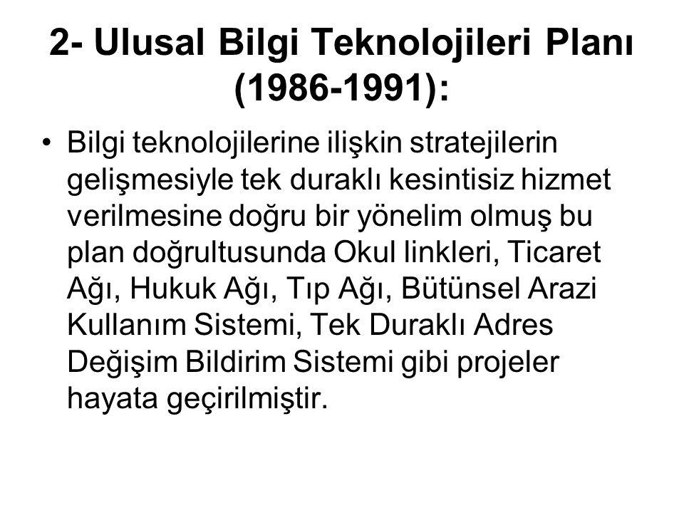 2- Ulusal Bilgi Teknolojileri Planı (1986-1991):