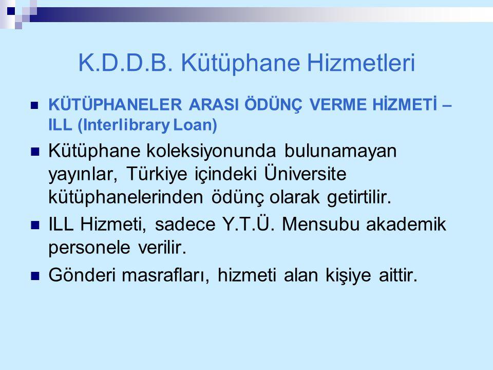 K.D.D.B. Kütüphane Hizmetleri