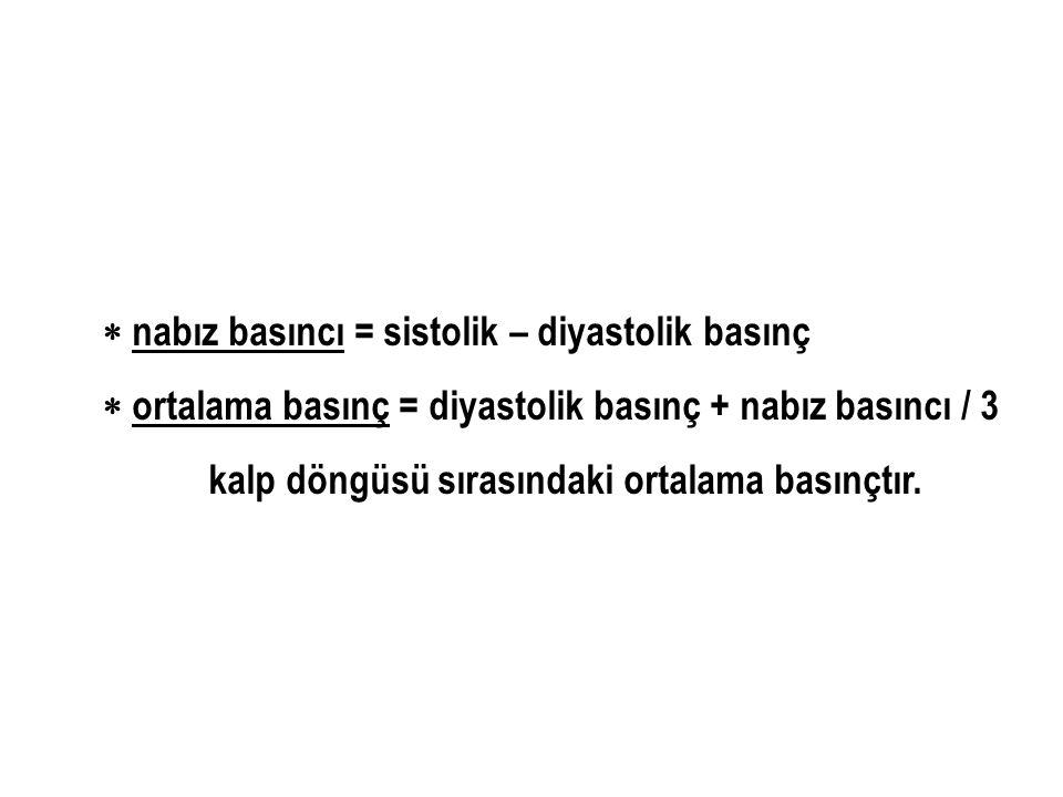  nabız basıncı = sistolik – diyastolik basınç