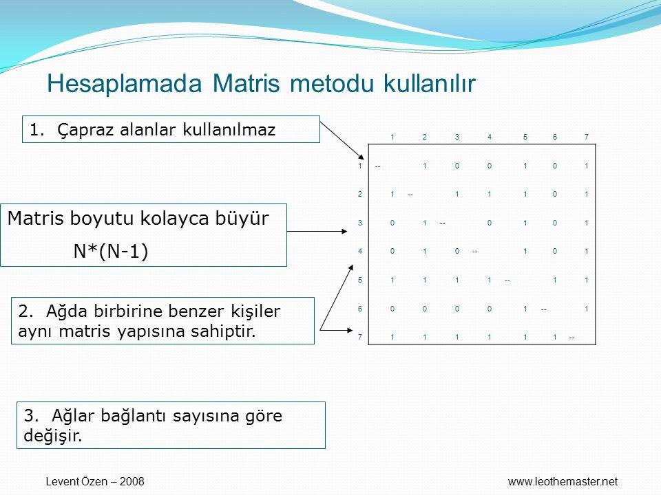 Hesaplamada Matris metodu kullanılır