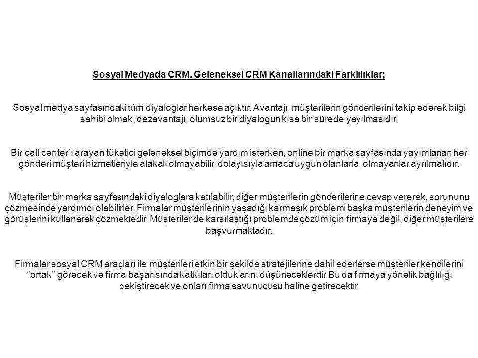 Sosyal Medyada CRM, Geleneksel CRM Kanallarındaki Farklılıklar;