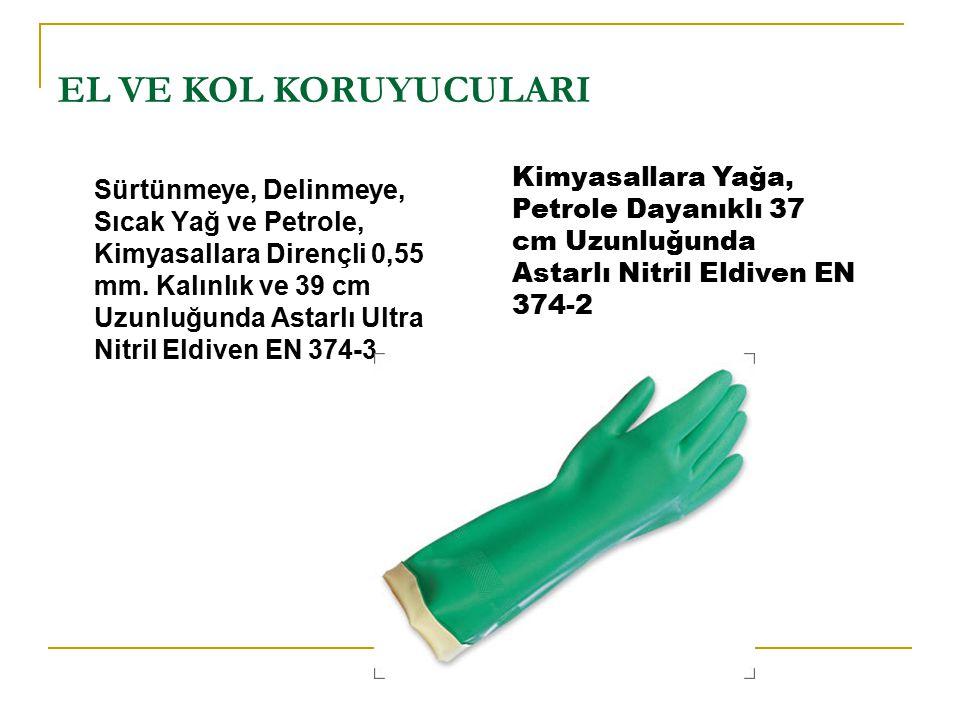 EL VE KOL KORUYUCULARI Kimyasallara Yağa, Petrole Dayanıklı 37 cm Uzunluğunda Astarlı Nitril Eldiven EN 374-2.