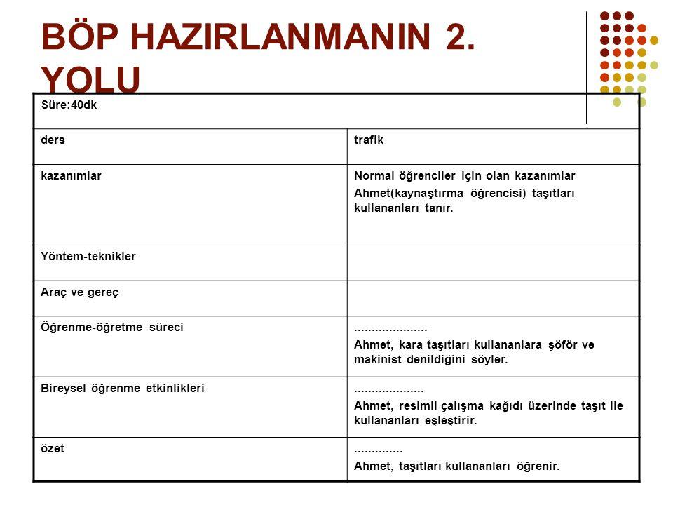 BÖP HAZIRLANMANIN 2. YOLU