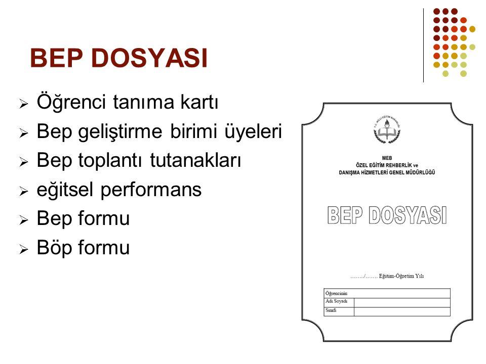 BEP DOSYASI Öğrenci tanıma kartı Bep geliştirme birimi üyeleri
