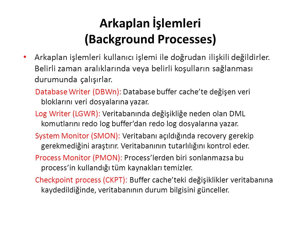 Arkaplan İşlemleri (Background Processes)