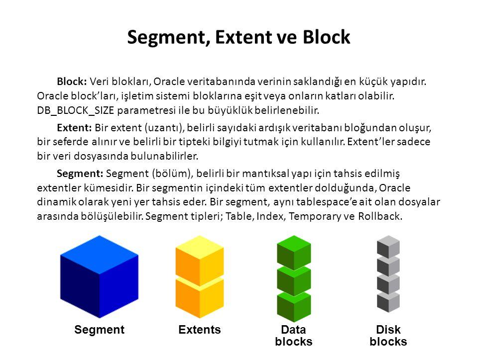 Segment, Extent ve Block