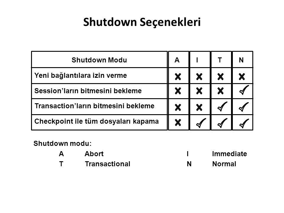 Shutdown Seçenekleri Shutdown Modu Yeni bağlantılara izin verme