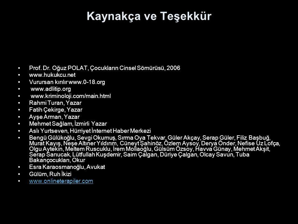 Kaynakça ve Teşekkür Prof. Dr. Oğuz POLAT, Çocukların Cinsel Sömürüsü, 2006. www.hukukcu.net. Vurursan kırılır www.0-18.org.