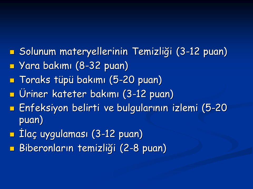 Solunum materyellerinin Temizliği (3-12 puan)