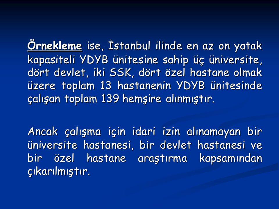 Örnekleme ise, İstanbul ilinde en az on yatak kapasiteli YDYB ünitesine sahip üç üniversite, dört devlet, iki SSK, dört özel hastane olmak üzere toplam 13 hastanenin YDYB ünitesinde çalışan toplam 139 hemşire alınmıştır.