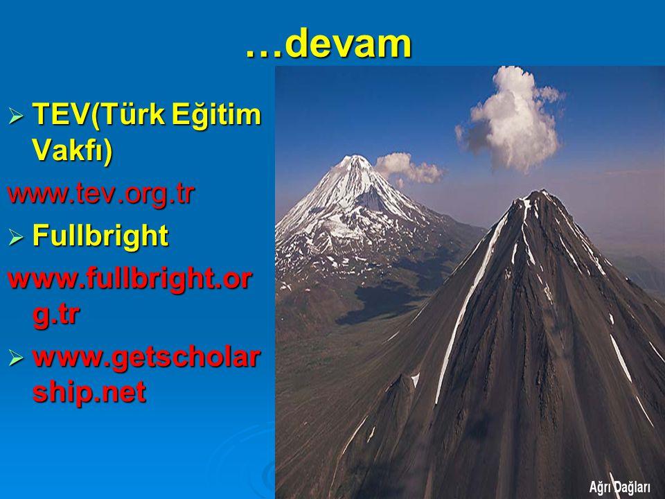 …devam TEV(Türk Eğitim Vakfı) www.tev.org.tr Fullbright