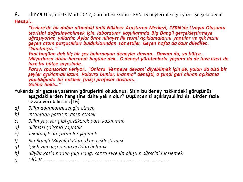 Hıncal Uluç'un 03 Mart 2012, Cumartesi Günü CERN Deneyleri ile ilgili yazısı şu şekildedir: