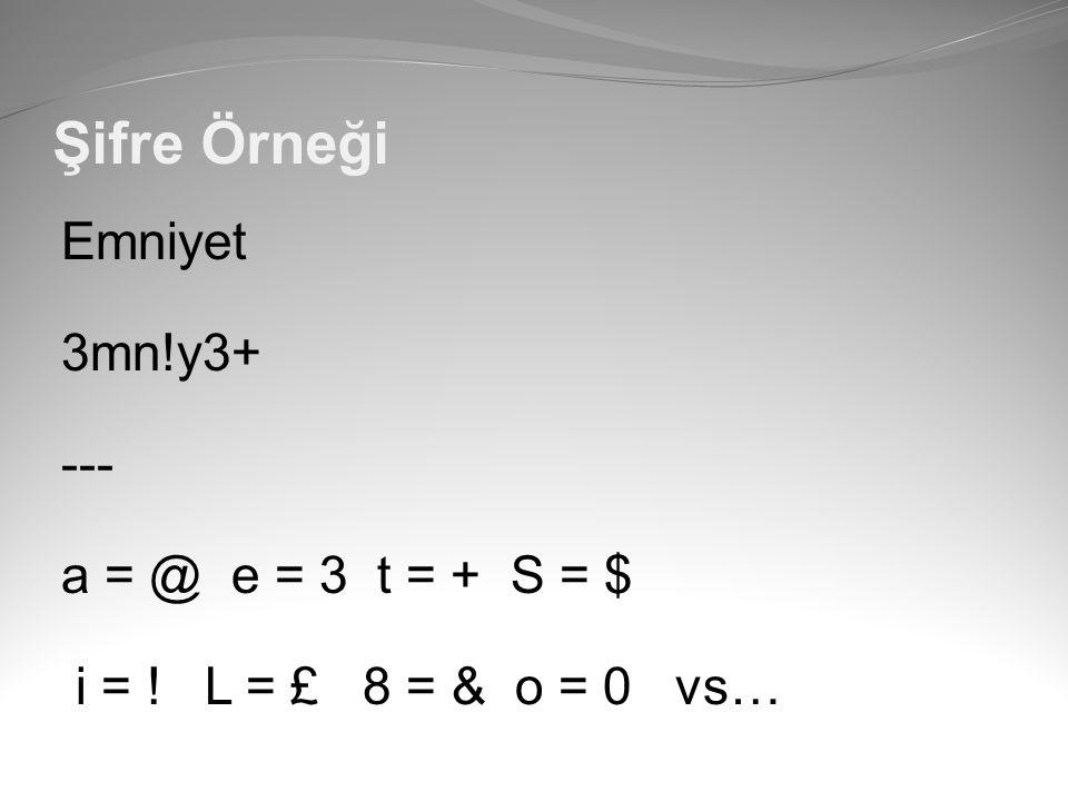 Şifre Örneği Emniyet 3mn!y3+ --- a = @ e = 3 t = + S = $