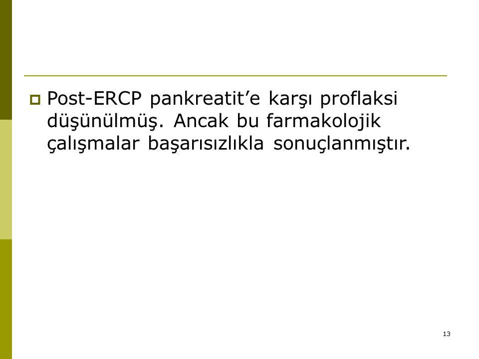 Post-ERCP pankreatit'e karşı proflaksi düşünülmüş