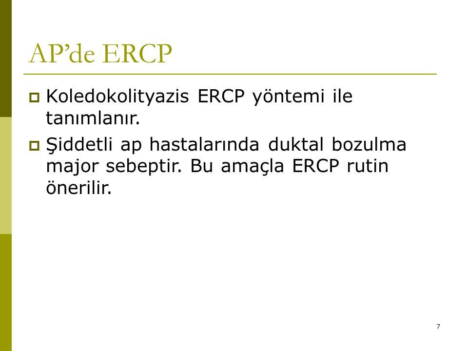 AP'de ERCP Koledokolityazis ERCP yöntemi ile tanımlanır.