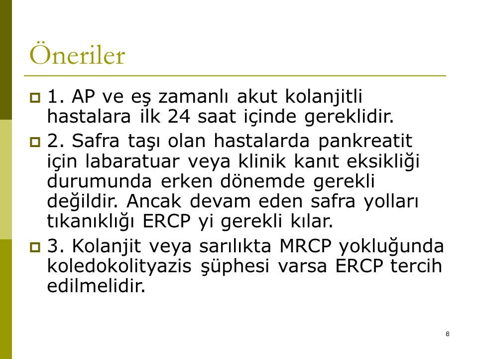 Öneriler 1. AP ve eş zamanlı akut kolanjitli hastalara ilk 24 saat içinde gereklidir.