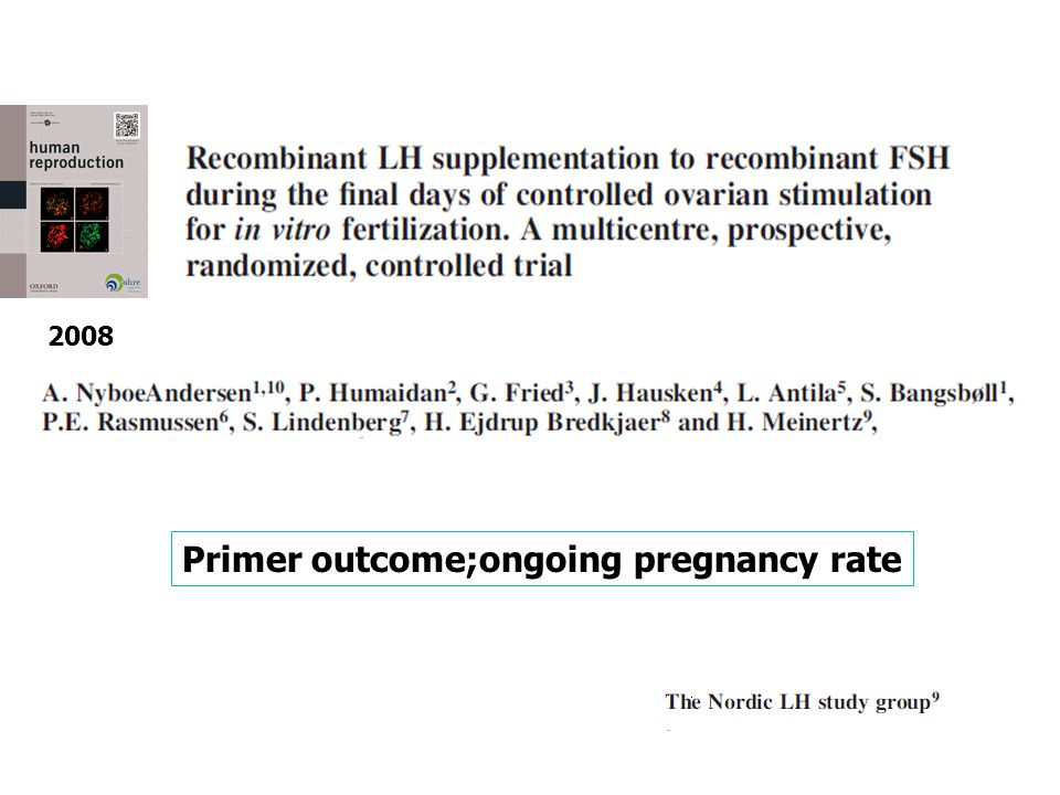 Primer outcome;ongoing pregnancy rate