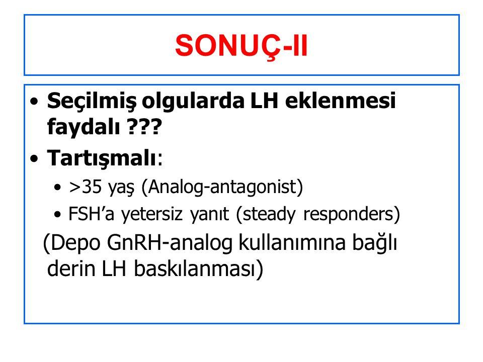 SONUÇ-II Seçilmiş olgularda LH eklenmesi faydalı Tartışmalı: