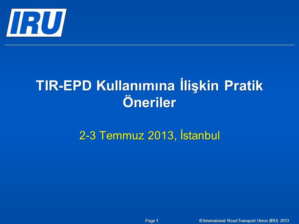 TIR-EPD Kullanımına İlişkin Pratik Öneriler