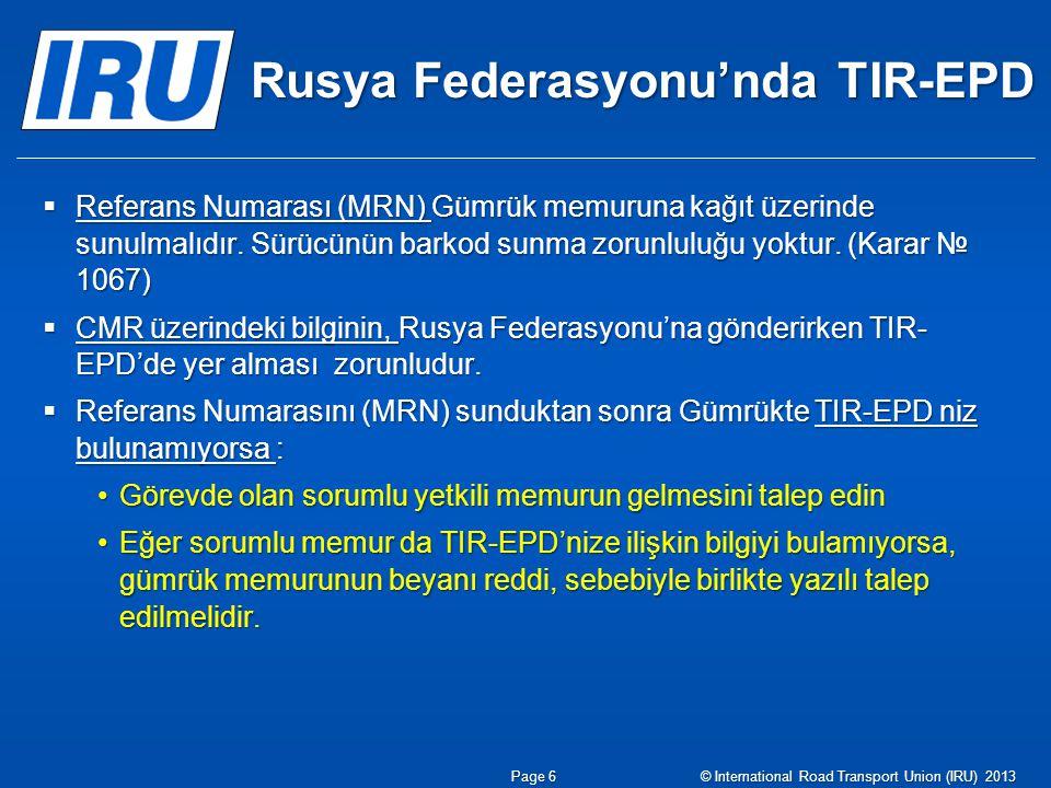 Rusya Federasyonu'nda TIR-EPD
