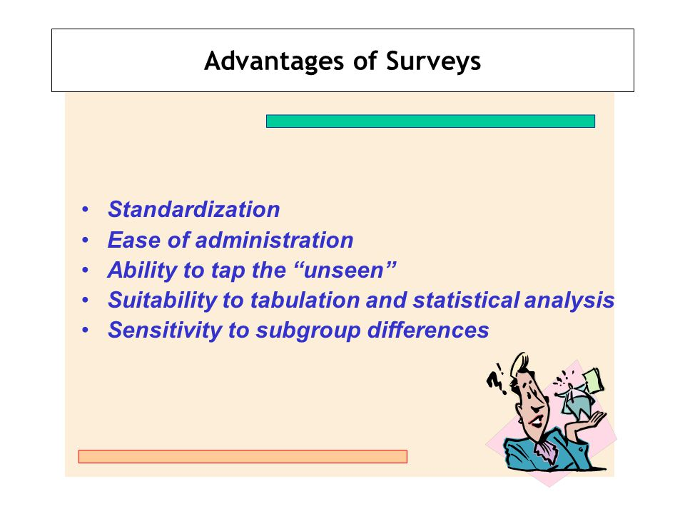 Advantages of Surveys Standardization Ease of administration