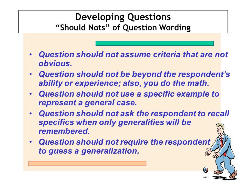 Should Nots of Question Wording