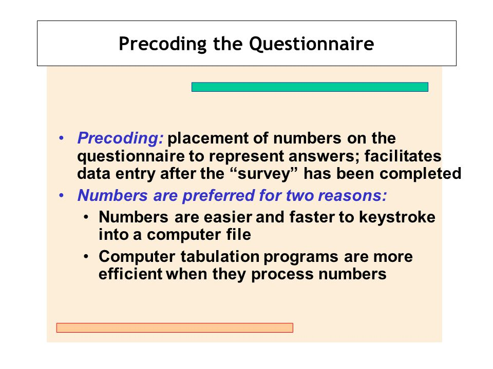 Precoding the Questionnaire