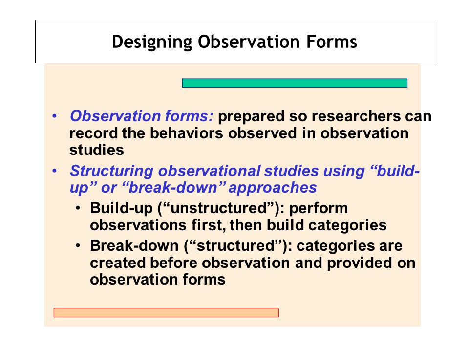 Designing Observation Forms