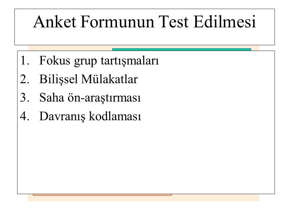 Anket Formunun Test Edilmesi