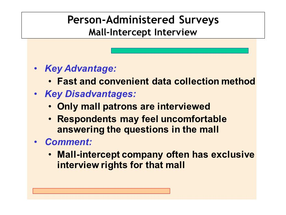 Person-Administered Surveys Mall-Intercept Interview