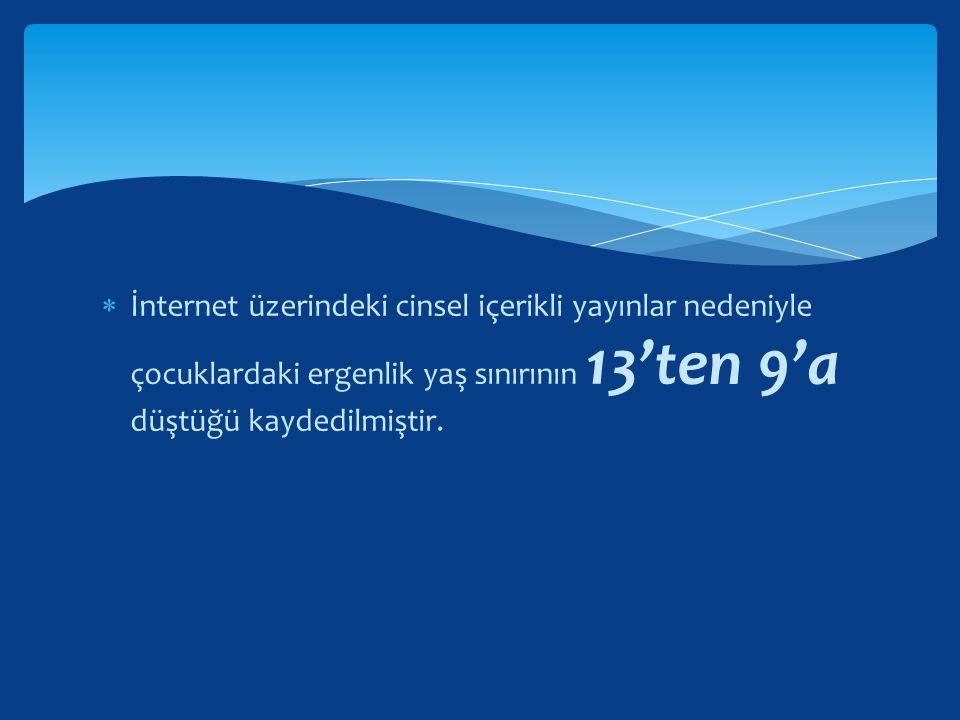 İnternet üzerindeki cinsel içerikli yayınlar nedeniyle çocuklardaki ergenlik yaş sınırının 13'ten 9'a düştüğü kaydedilmiştir.