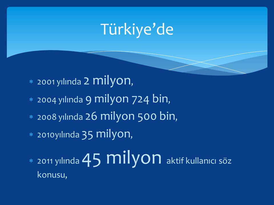 Türkiye'de 2001 yılında 2 milyon, 2004 yılında 9 milyon 724 bin,