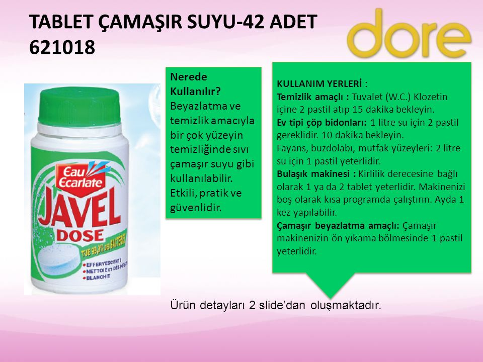 TABLET ÇAMAŞIR SUYU-42 ADET 621018