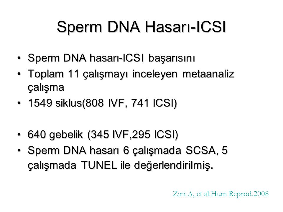 Sperm DNA Hasarı-ICSI Sperm DNA hasarı-ICSI başarısını