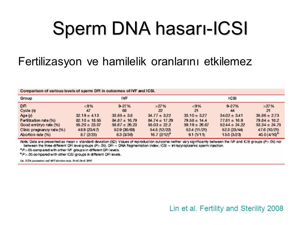Sperm DNA hasarı-ICSI Fertilizasyon ve hamilelik oranlarını etkilemez