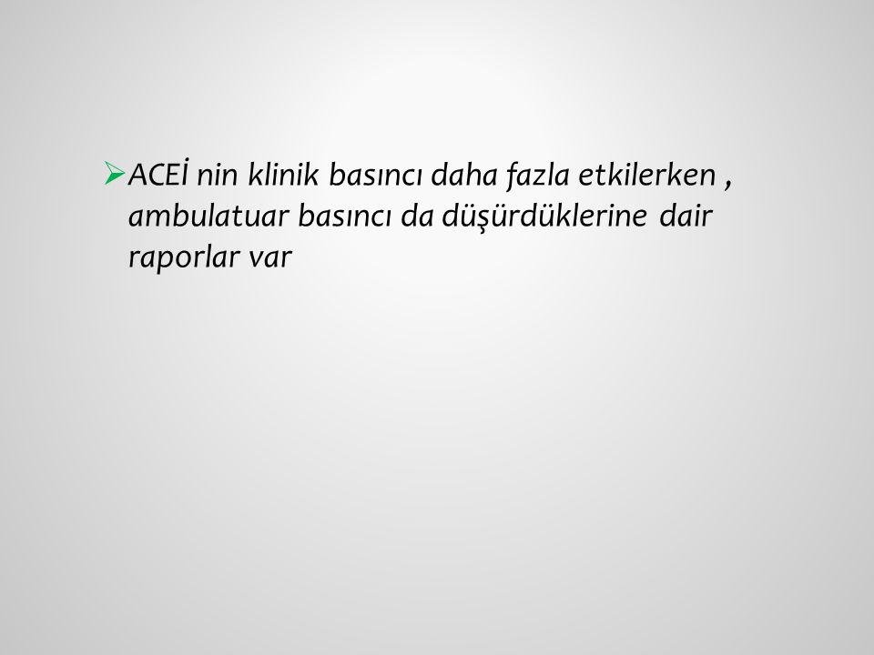 ACEİ nin klinik basıncı daha fazla etkilerken , ambulatuar basıncı da düşürdüklerine dair raporlar var