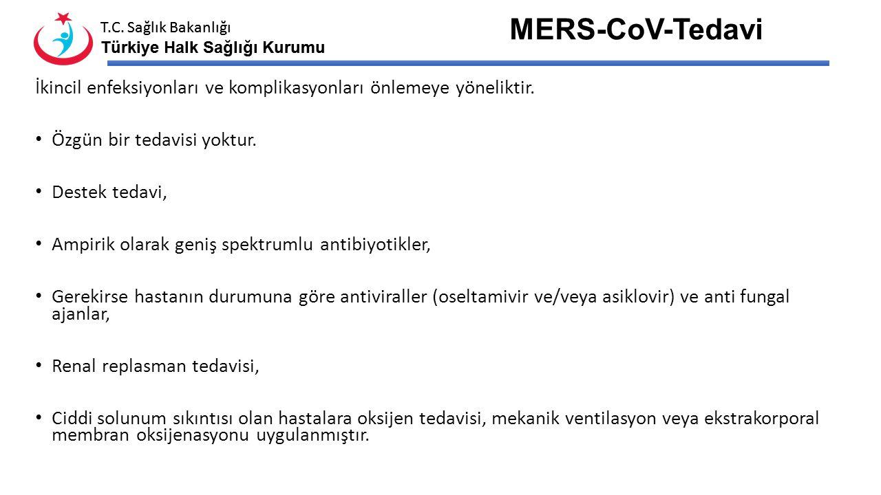 MERS-CoV-Tedavi İkincil enfeksiyonları ve komplikasyonları önlemeye yöneliktir. Özgün bir tedavisi yoktur.