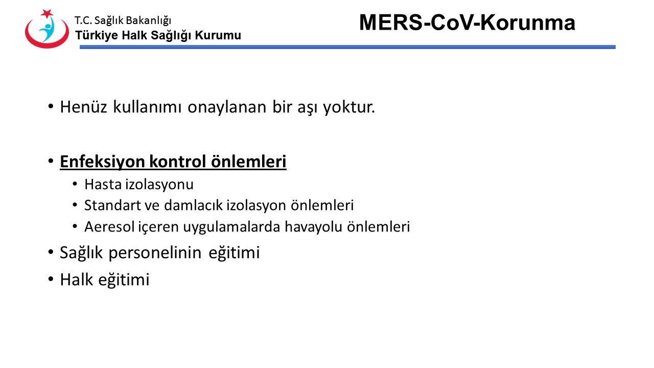 MERS-CoV-Korunma Henüz kullanımı onaylanan bir aşı yoktur.