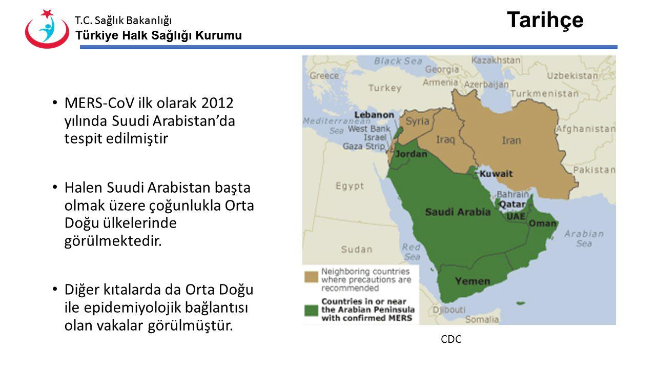Tarihçe MERS-CoV ilk olarak 2012 yılında Suudi Arabistan'da tespit edilmiştir.