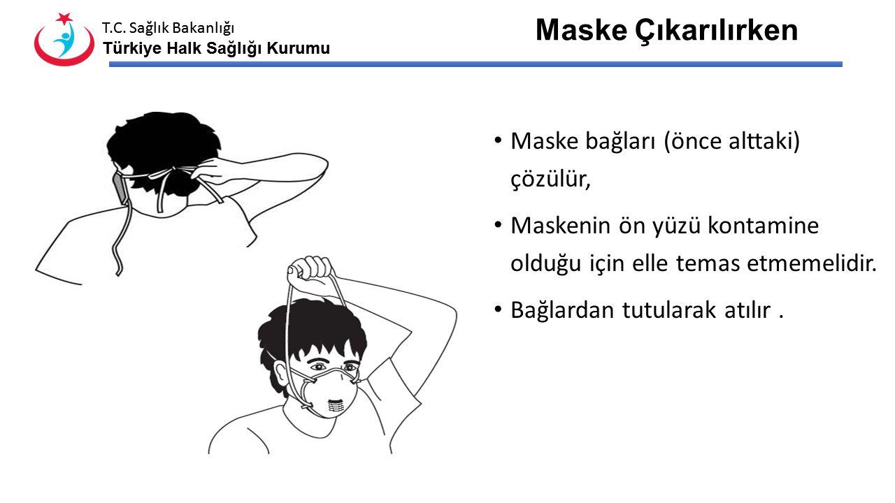 Maske Çıkarılırken Maske bağları (önce alttaki) çözülür,