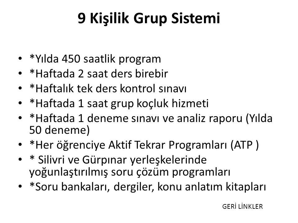 9 Kişilik Grup Sistemi *Yılda 450 saatlik program