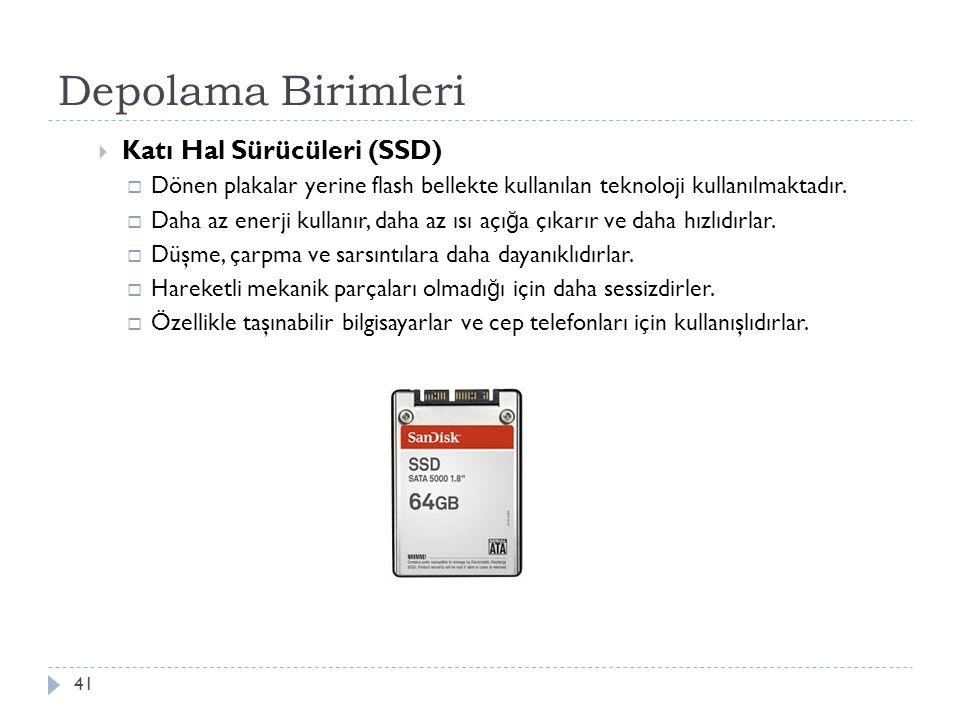 Depolama Birimleri Katı Hal Sürücüleri (SSD)