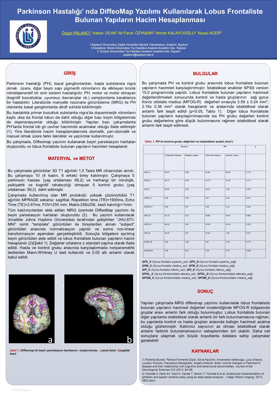 Parkinson Hastalığı' nda DiffeoMap Yazılımı Kullanılarak Lobus Frontaliste Bulunan Yapıların Hacim Hesaplanması