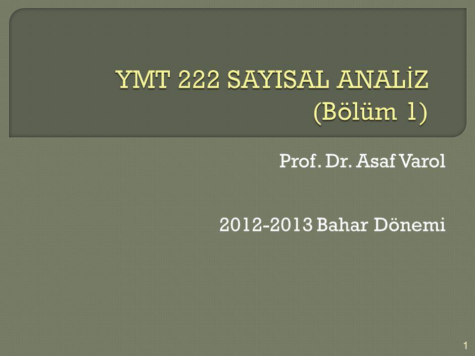 YMT 222 SAYISAL ANALİZ (Bölüm 1)